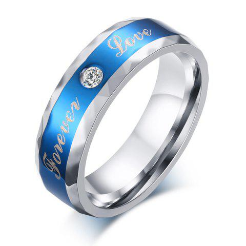 Discount Stainless Steel Rhinestone Forever Love Ring - 9 BLUE Mobile