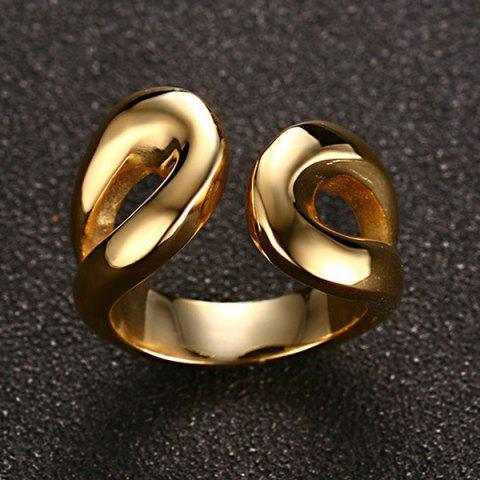 Sale Stainless Steel Cuff Ring - 9 GOLDEN Mobile