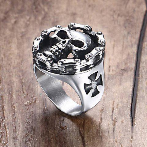 Outfits Devil Skull Crucifix Engraved Ring - 8 SILVER Mobile
