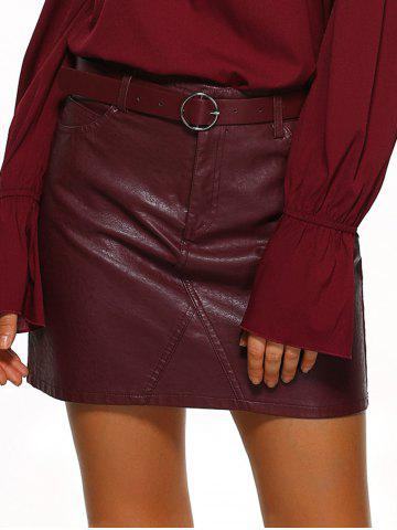 Chic Pockets Design Belted Leather Mini Skirt WINE RED XL