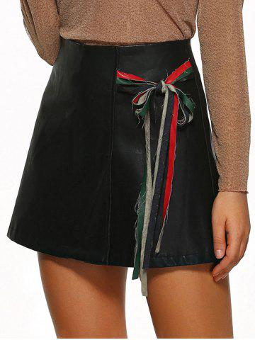 Fashion Zipper Flying Tied-Up PU Leather Skirt