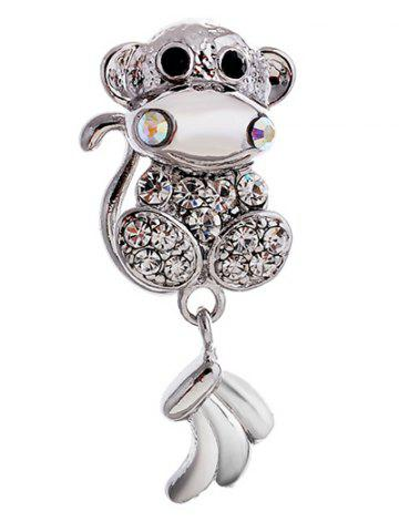 Fashion Monkey Animal Mascot Rhinestone Brooch - SILVER  Mobile