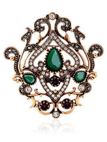 New Vintage Natural Stone Hollow Out Brooch - GREEN  Mobile
