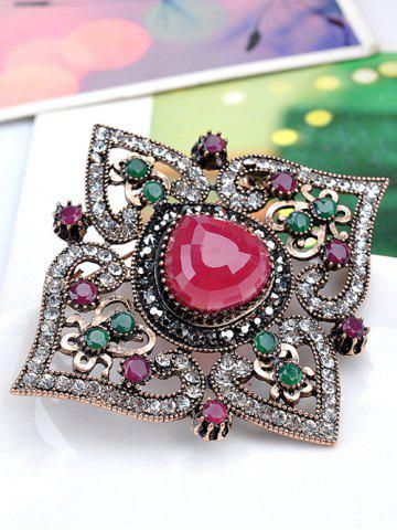 Buy Faux Gemstone Hollow Out Brooch