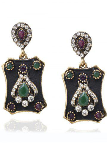 Outfit Retro Artificial Crystal Card Drop Earrings