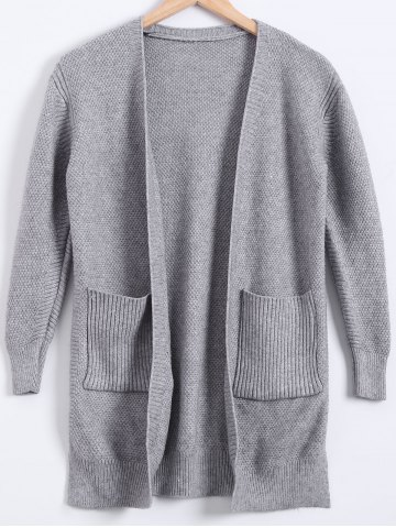 Best Double Pockets Cardigan GRAY M