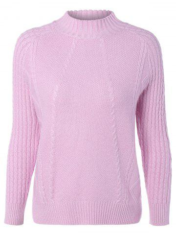 Affordable Mock Neck Argyle Pullover Cable Knitwear