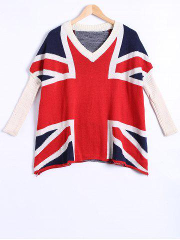 New Flag Pattern V Neck Pullover Sweater