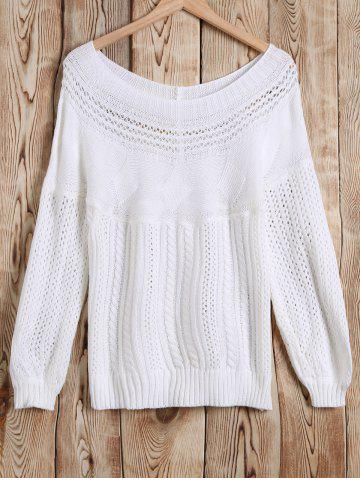 Latest Boat Neck Cable Knitwear WHITE XL