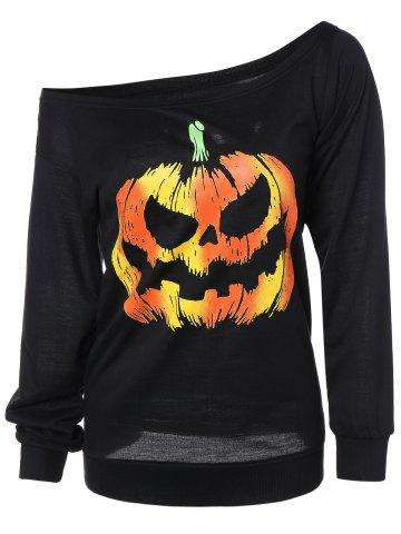 Sale Long Sleeve Pumpkin Print Sweatshirt