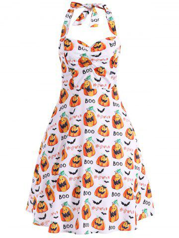 Discount Halter Pumpkin Print Vintage Dress