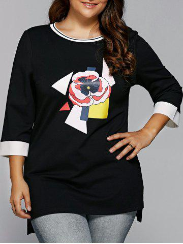 Outfit Spliced Flower Applique Asymmetric T-Shirt