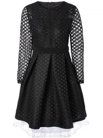 Shop Openwork Sheer Lace Fit and Flare Dress