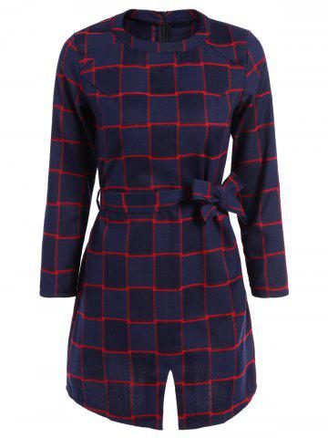 New Plaid Belted Split Dress CHECKED 2XL