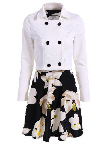 Fashion Floral Print Flare Dress + Double Breasted Jacket