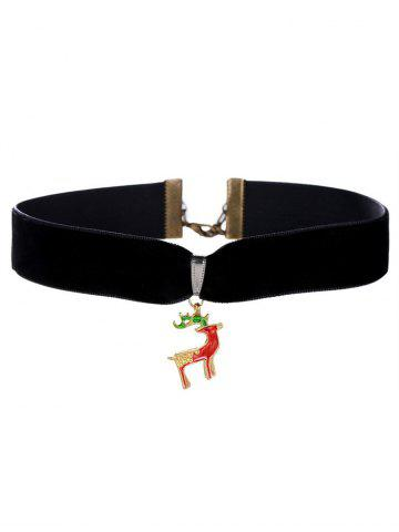 Fashion Christmas Deer Velvet Wide Choker Necklace BLACK