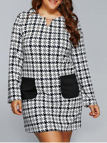 Sale Houndstooth Print Long Sleeve Shift Dress with Pocket WHITE/BLACK 5XL