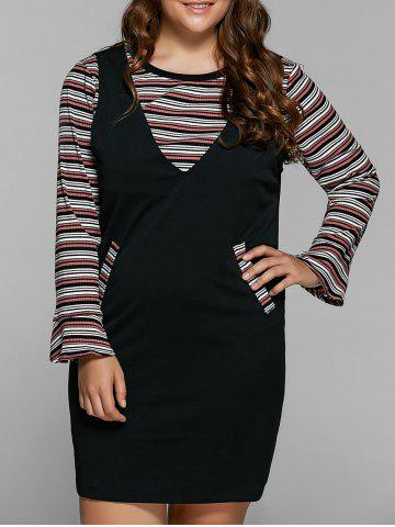 Sale Striped Knitwear and Fitted Pinafore Dress Twinset BLACK 4XL