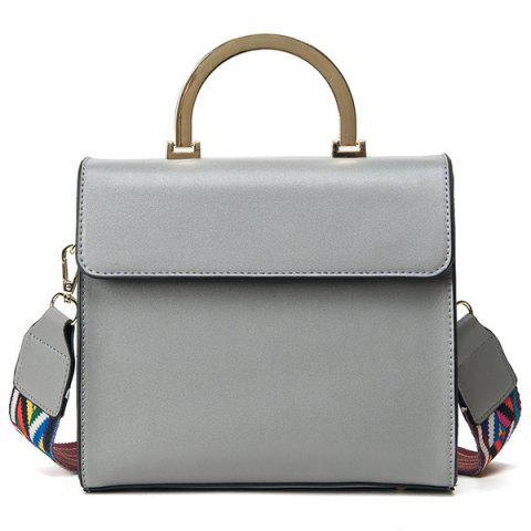 Shop Colored Strap Metal Handle Tote GRAY