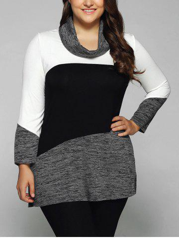 Chic Plus Size Cowl Neck Heathered Blouse WHITE/BLACK XL