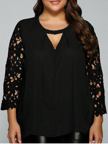 Trendy Plus Size Lace Sleeve Cut Out Blouse