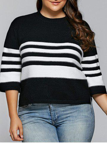 Outfits Striped Side Slit Pullover Knitwear