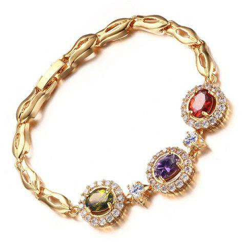 Trendy Artificial Gem Rhinestone Chain Bracelet