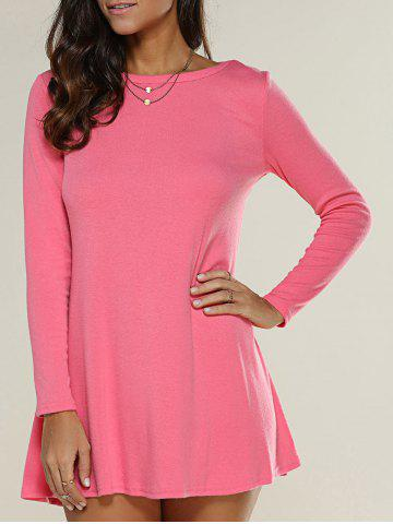 Unique Long Sleeve Plain Knitted Tunic Dress WATERMELON RED XL