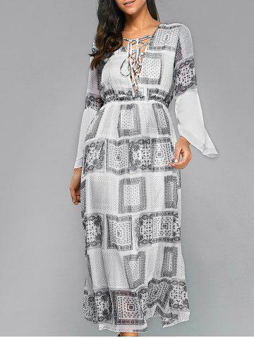 Cheap Printed Lace-Up Maxi Bohemian Dress