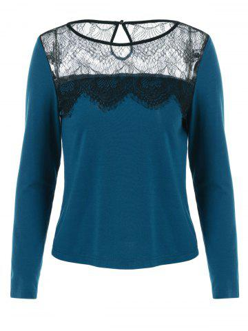 Cheap Lace Patchwork Cut Out Blouse