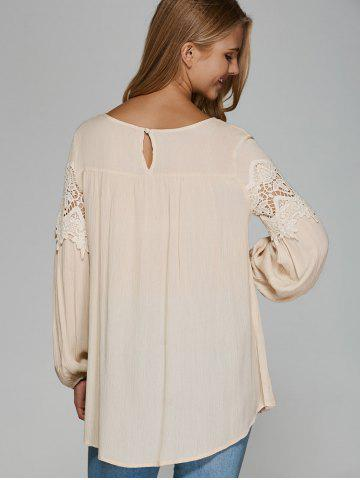 Best Openwork Lace Chiffon Blouse - ONE SIZE APRICOT Mobile