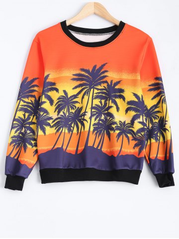 Affordable Coconut Tree Color Block Sweatshirt COLORMIX ONE SIZE