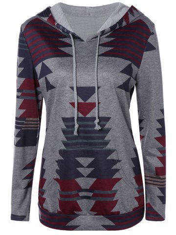 Fancy Front Pocket Printed Pullover Hoodie - XL GRAY Mobile
