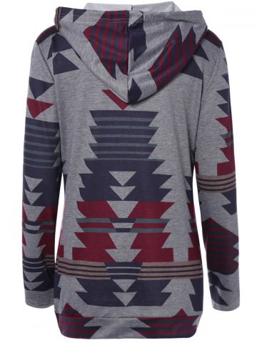 Trendy Front Pocket Printed Pullover Hoodie - XL GRAY Mobile