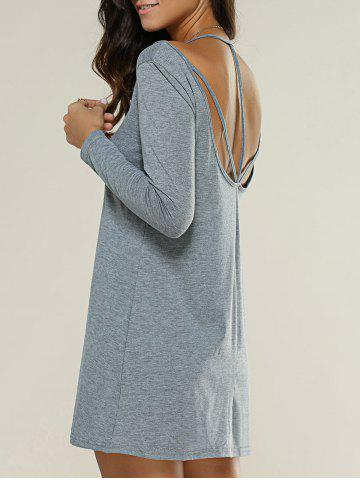 Strappy Backless Long Sleeve Dress - Deep Gray - Xl