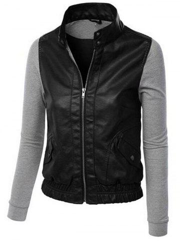 Buy Detachable Hooded PU-Leather Design Zip-Up Hoodie