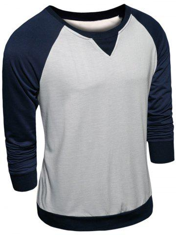 Chic Crew Neck Color Block Raglan Sleeve Sweatshirt CADETBLUE 2XL