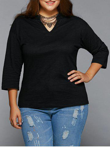 New Plus Size V Neck T Shirt BLACK 5XL