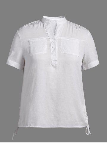 Plus Size Size Lace Up Polo Shirt - White - 3xl