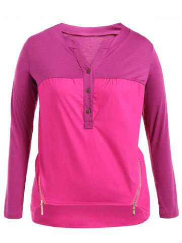 New Plus Size Zipper Buttons Long Sleeve T-Shirt