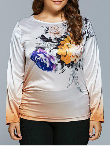 Best Plus Size Flower Printed Ombre Satin T-shirt WHITE 2XL