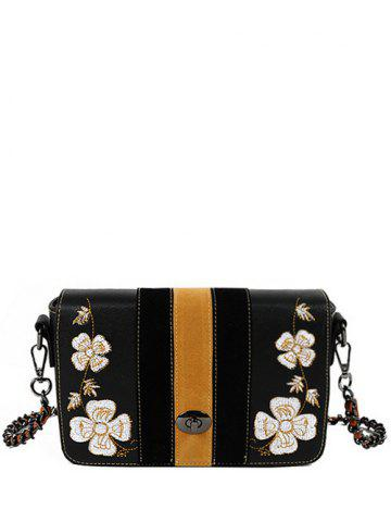 Unique Striped Pattern Flower Embroidery Crossbody Bag BLACK