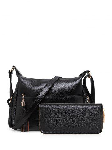 PU Leather Tassels Embossing Crossbody Bag - Black