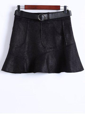 Trendy Suede Belted Mini Skirt