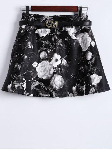 Hot Floral Print Faux Leather Skirt