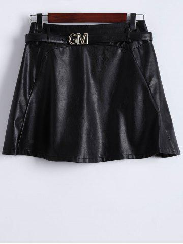 Fancy Belted Faux Leather Skirt