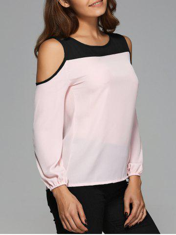 Latest Cut Out Contrast Color Spliced Blouse