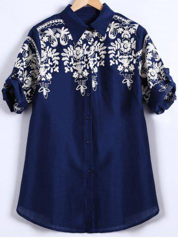 Shops Button-Down Embroidered Shirt