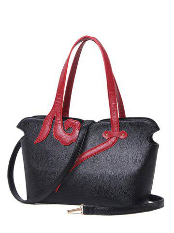 Buy PU Leather Two-Tone Stitching Shoulder Bag BLACK