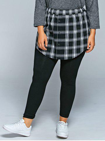 Outfits Slimming Plaid Faux Twinset Pants BLACK 4XL